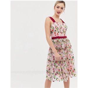 ASOS Chi Chi London Embroidered Floral Dress